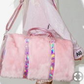 bag,pink,pink bag,fur,transparent fur bag