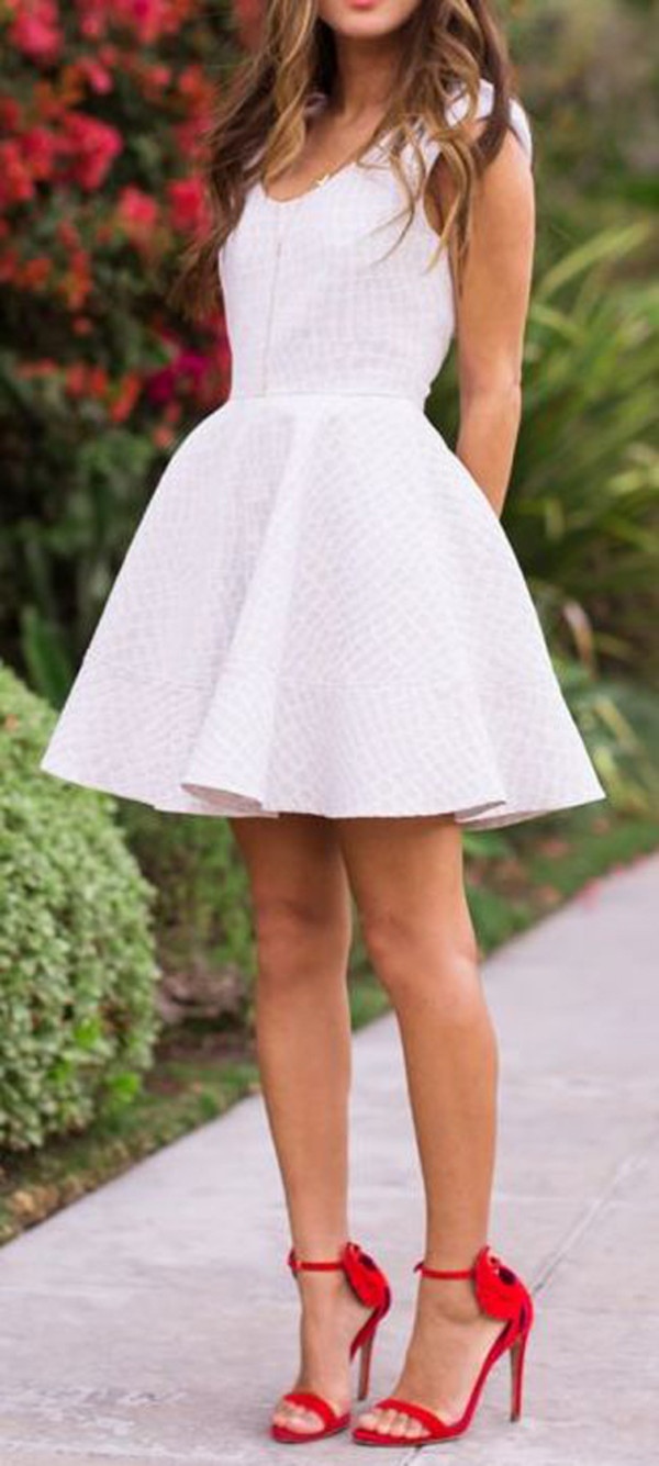 dress white dress summer dress skater dress icifashion ici fashion