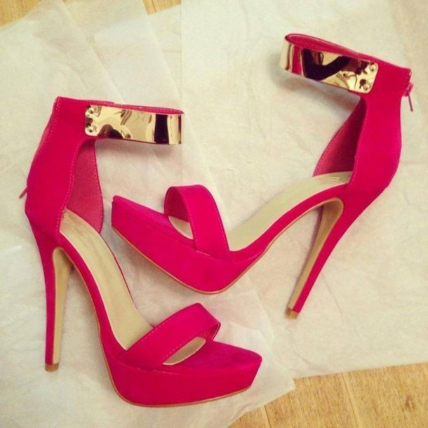 Shoes: pink, heels, gold, pink sandals, red sandals, high, high ...