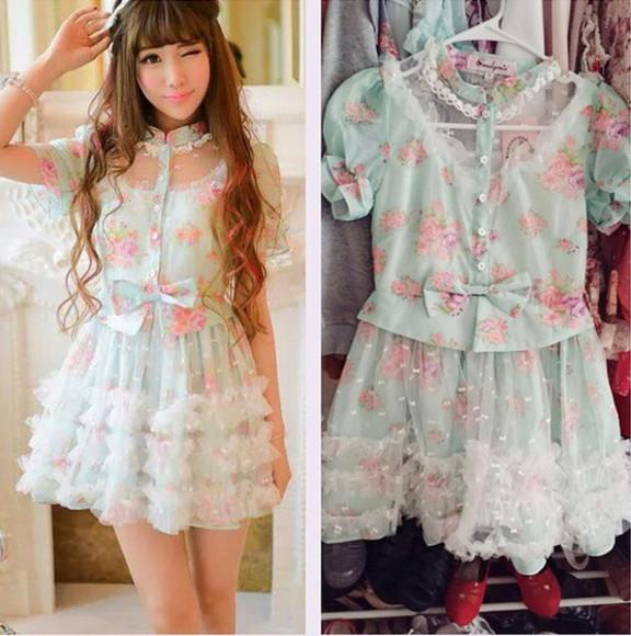 pink flowers cute floral dress light blue blue dress flower print dress asian fashion bows short dress tule skirt