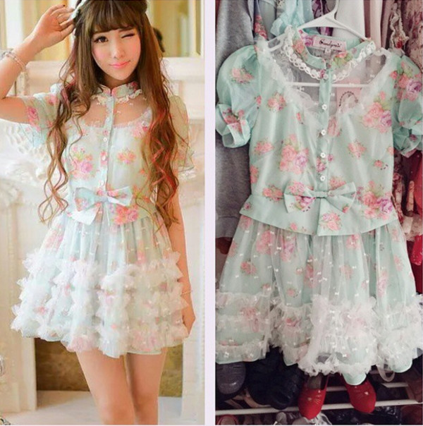 Japanese Princess Sweet Bowknot Tutu Dress 183 Fashion