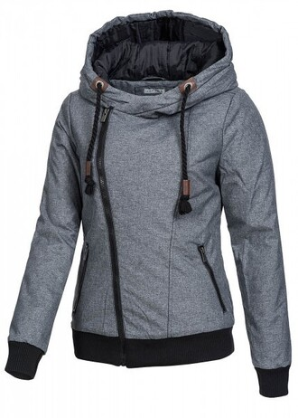 jacket grey gray gray jacket hooded hooded jacket winter outfits winter jacket asymmetrical asymetrical jacket zip zipper jacket sublevel