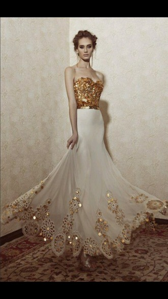 dress gold sequin dress long sleeve prom dress prom dress white and gold dress