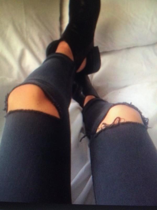 jeans skinny jeans black jeans knee hole pants