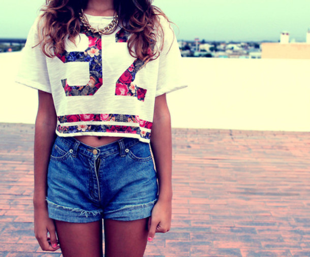 Shirt 92 Floral White Crop Tops Crop Tops Weheartit