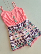 jumpsuit,romper,tribal pattern,aztec,spaghetti strap,sequins,jewels,shirt,shorts,light pink,aztec print skirt,rose,coral,necklace,pink,hippie,pink jumpsuit,pastel,pink romper,sparkle,cute,summer,aztec jumpsuit,summer jumpsuit,coral jumpsuit,coral romper,aztec romper,pink dress,aztec dress,beaded,sparkly dress,style,summer dress,tank top,pink tank top,aztec shirt,blue,silk,gold,pattern