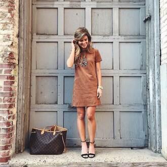 brighton the day blog | dallas fashion blog blogger shoes jewels bag suede dress statement necklace brown dress mini dress louis vuitton louis vuitton bag sandals black heels sandal heels
