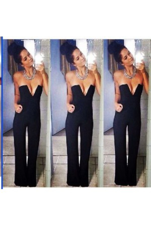 jumpsuit black black jumpsuit all black everything fancy funny clubwear outfit sexy plunge v neck love it ❤️ summer essential everyday fashion