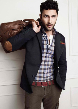 jacket blue brown leather patches fashion navy blazer outerwear menswear navy blazer hipster menswear mens blazer mens holdall
