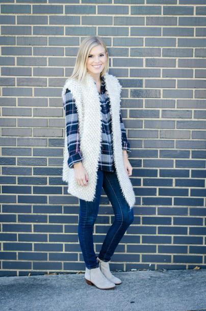 471a48bc77 life with emily blogger cardigan vest fluffy plaid shirt blue shirt white  fur vest tartan plaid