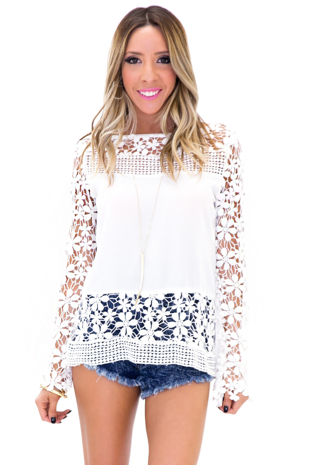 Helen crochet contrast blouse