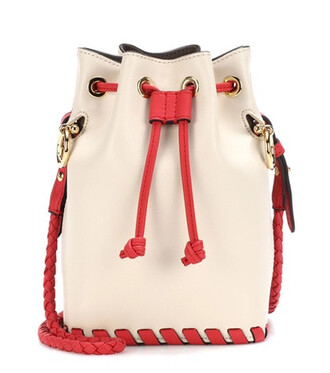 bag bucket bag leather white