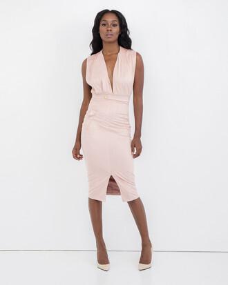 dress deep v midi dress dusty pink slit