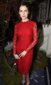 dress,lace dress,red dress,red,anna kendrick