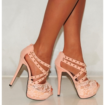 Ladies Olp049 Nude Lace High Heels - Footwear from Designerwear.co ...