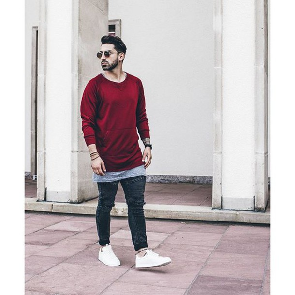 Sweater: phoenix, men style, mens sweater, burgundy, oversized ...