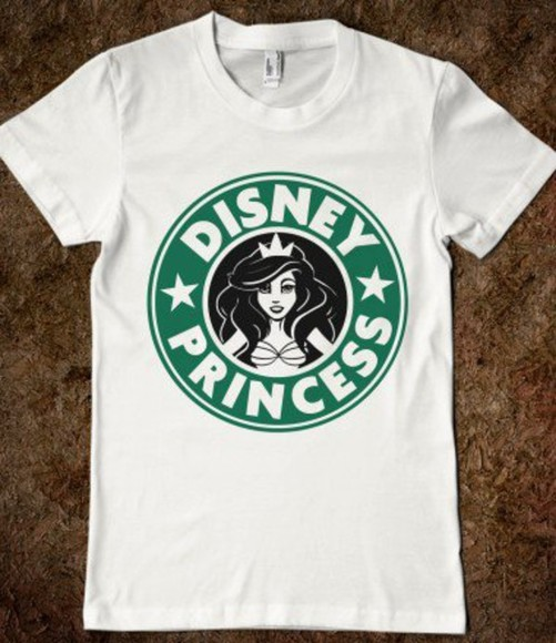 t-shirt top tshirt baggy tshirt white disney princess green starbucks mermaid