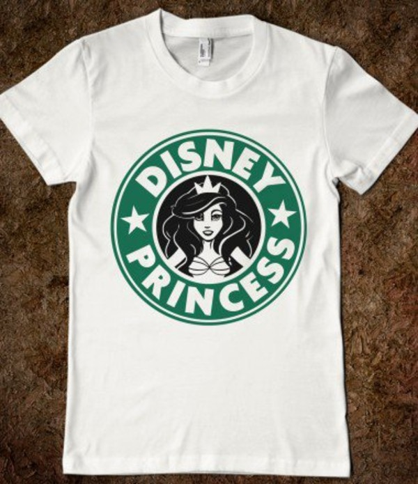 T shirt disney princess green white starbucks coffee for Oversized disney t shirts