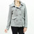 Button-Up removable hoodie cotton fleece Coat Gray