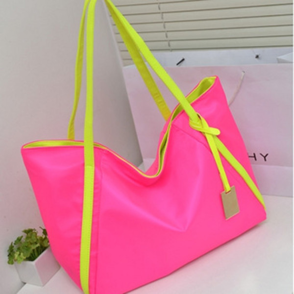 bag neon pink yellow big purse