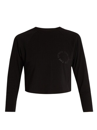 sweatshirt cropped cotton print black sweater