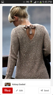 sweater,sequins,bow,tan