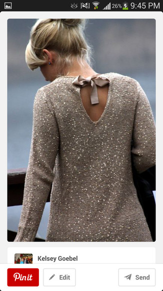 sequin sweater bow tan
