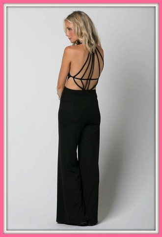 jumpsuit black backless jumper spring fashion style stylish women pretty classy clothes one piece girly girl tumblr instagram date outfit on point clothing outfit outfit idea fashionista trendy cool hot
