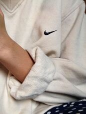 sweater,v neck,sweatshirt,comfy,oversized sweater,white,cream,nike,nike sweater,shirt,crewneck,white sweater,white jumper,cozy,jacket,nike outfit,oversized white sweater,beige,cute,fall outfits,white pullover