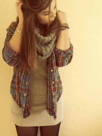 sweater scarf long top flannel shirt shirt plad shirt jeans