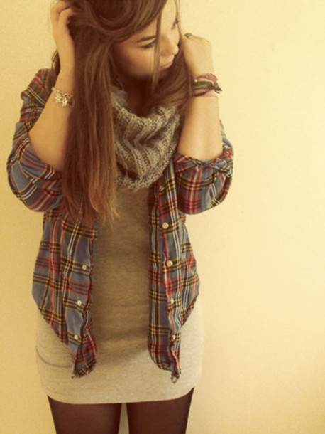 sweater scarf long top flannel shirt shirt plaid shirt jacket dress plad shirt jeans
