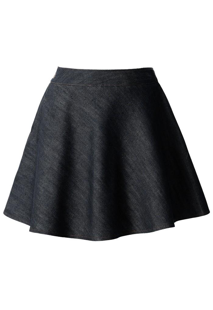 denim skater skirt in black retro and unique fashion