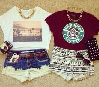 shirt red white black top summer shorts starbucks coffee dip dyed fashion jewels