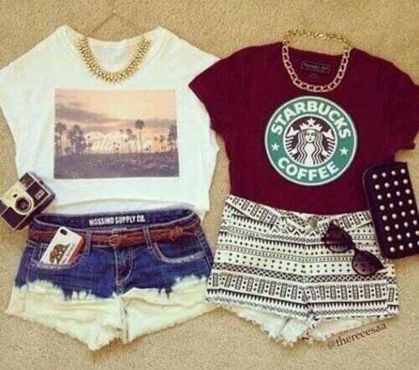 shirt red white black top summer shorts starbucks coffee starbucks coffee dip dyed fashion jewels