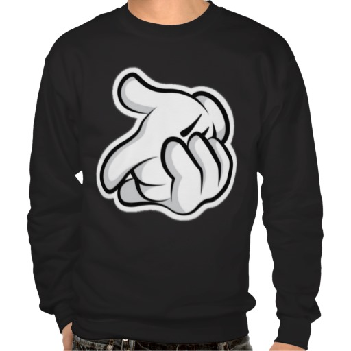 Mickey gun hands pull over sweatshirt from Zazzle.com