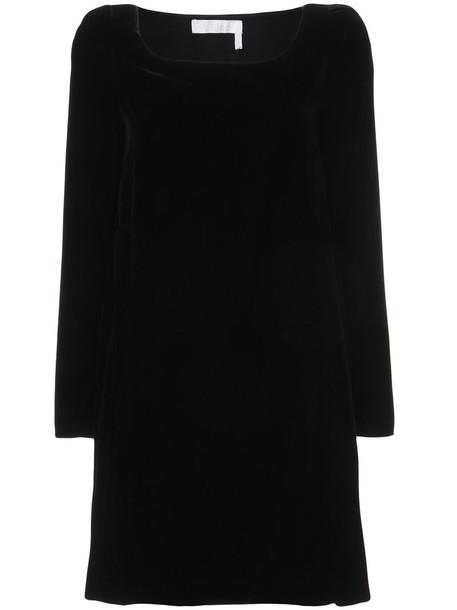 Chloe dress shift dress women black silk velvet