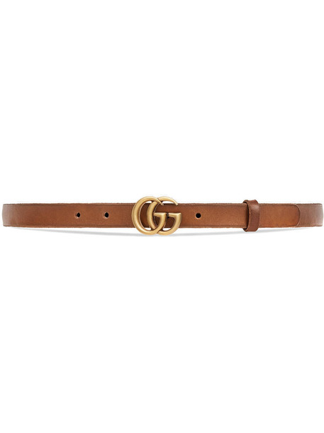 Gucci - Leather belt with Double G buckle - women - Leather/metal - 105, Brown, Leather/metal