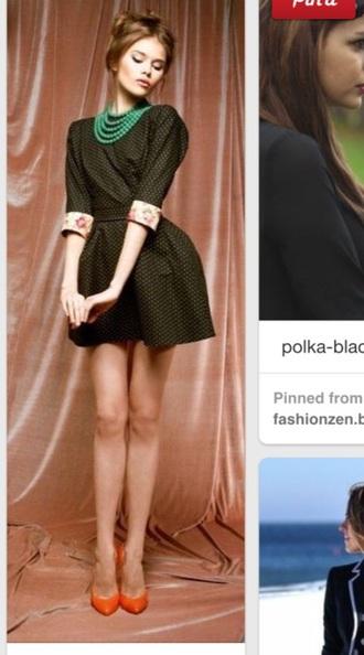 dress short dress necklace vintage dress orange heels vintage shoes jewels