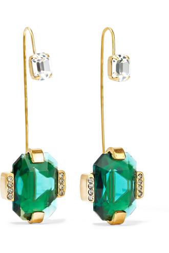 crystal earrings earrings gold green jewels