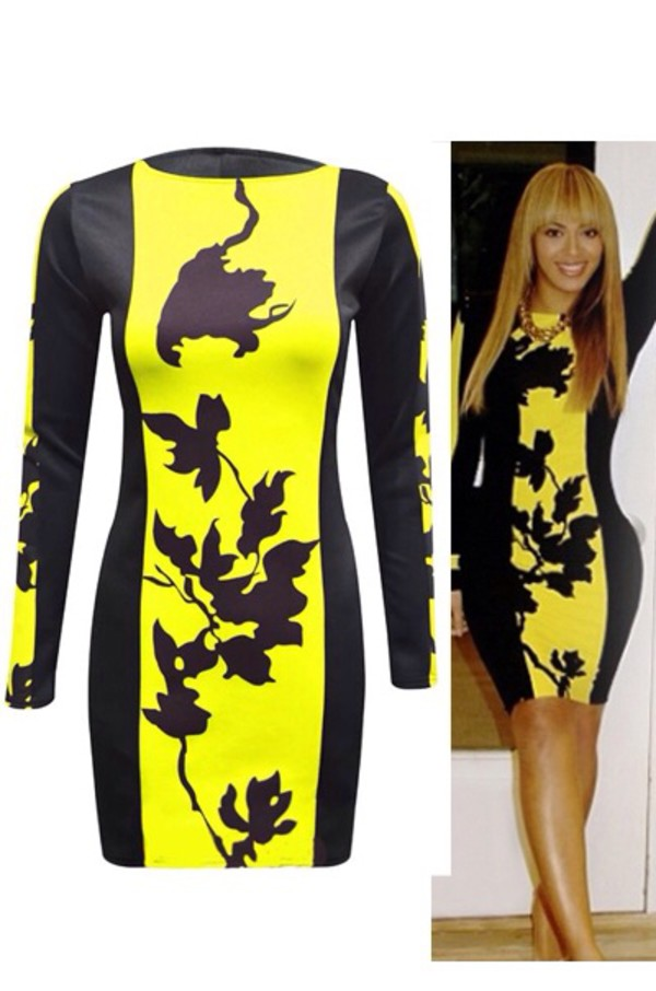 beyonce yellow bodycon celebrity style