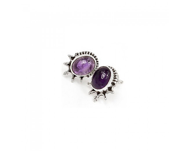 Unique 925 sterling silver Gemstone Amethyst Stud