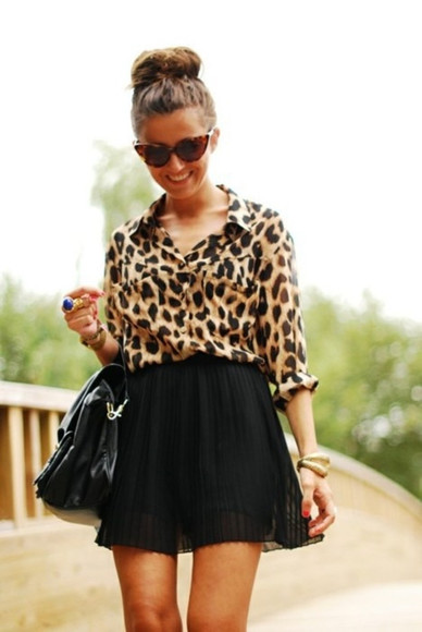 classy black bag luxury purse blouse nude light brown bun sunglasses black skirt chic bluse lux gold jewlery cheetah is the new black cheetha print cat eye pleated skirt fall outfits tumblr tumblr outfit tumblr clothes