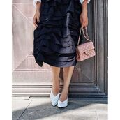 shoes,tumblr,white shoes,mules,bag,pink bag,chanel,chanel bag,skirt,midi skirt,black skirt,ruffle,ruffle skirt
