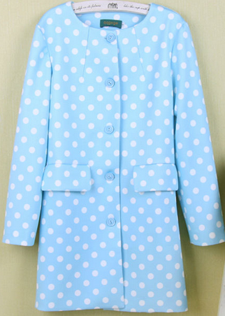 3 colors long polka jacket grass blue pink yellow green