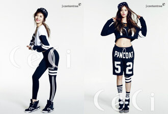 leggings nana after schook after school orange caramel kpop k-pop korean fashion black and white sporty hoodie cropped crop cropped hoodie snapback high tops sneakers socks stripes jersey edgy street urban sporty chic boyfriend shorts shorts sweater shoes black and white shorts