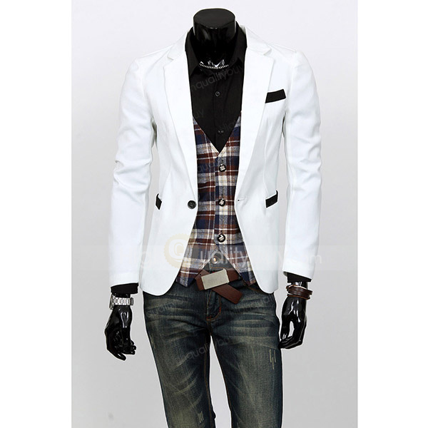 Handsome Lapel Neck One Button Long Sleeves Blazer For Men - $24.01