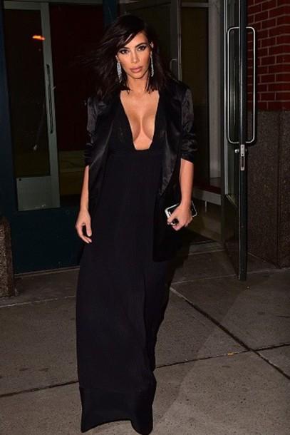 dress v neck dress v neck dress black dress maxi dress gown kim kardashian