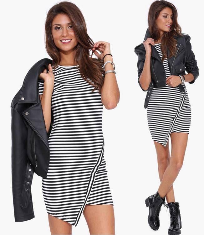 9e9d191240dc Black White Horizontal Striped Asymmetrical Short Sleeve Mini Bodycon Dress  NWT