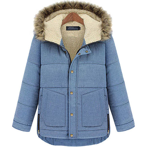[grxjy560755]Patch Pocket Irregular Hem Quilted Padded Jacket Thick Hooded Coat  / brashycouture