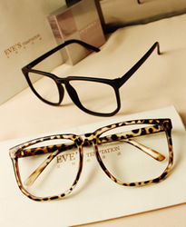 Online Shop Free shipping Fashion big box vintage leopard print large black plain glass spectacles box glasses frame size|Aliexpress Mobile